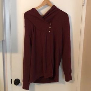 Asymmetrical maroon sweater